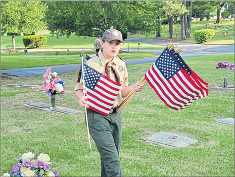 Scouts plant Memorial Day flags
